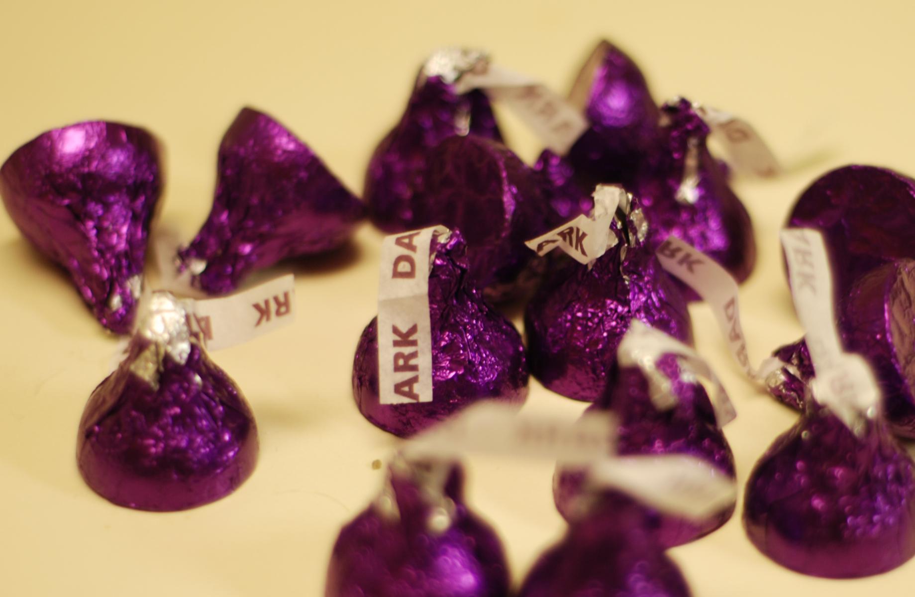 Hershey's dark chocolate kisses   Pork Chop Tuesday