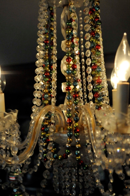 More glass garland. The chandelier lights shine on it beautifully, but make it hard to photograph!