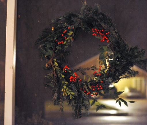 wreath with nandina berries