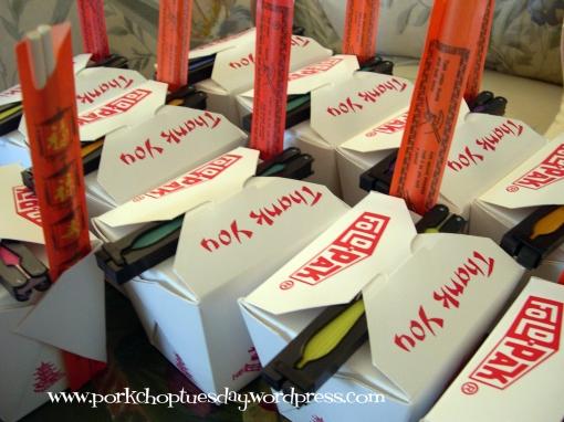 take out boxes via Pork Chop Tuesday