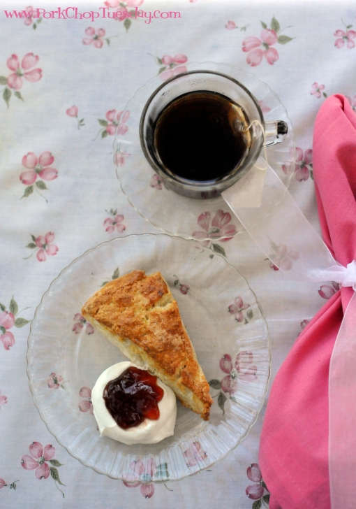 tea on vintage linens | Pork Chop Tuesday