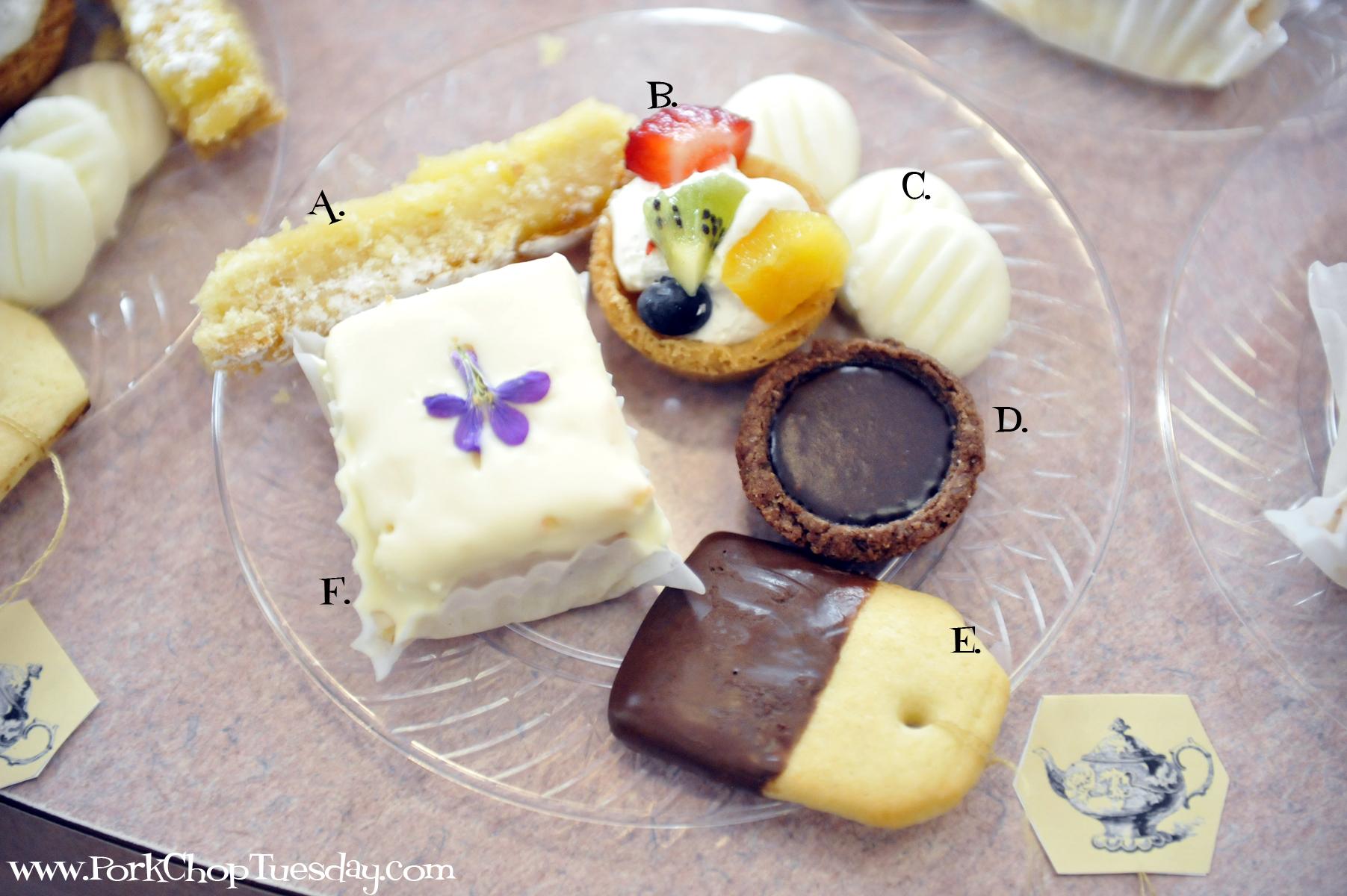 labeled dessert plate   Tea party desserts, Tea bag ...