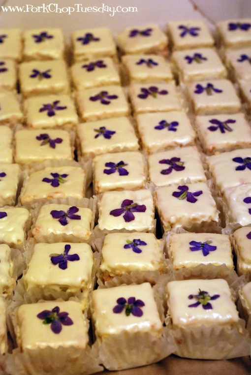 petit fours with violets