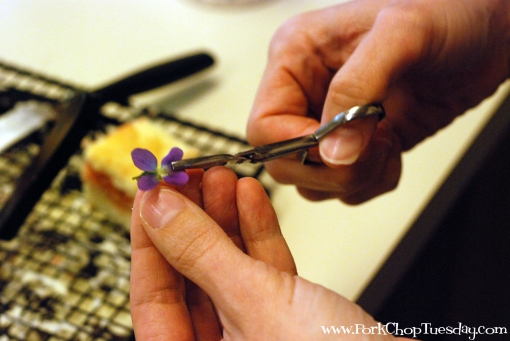 use tweezers to place the flowers