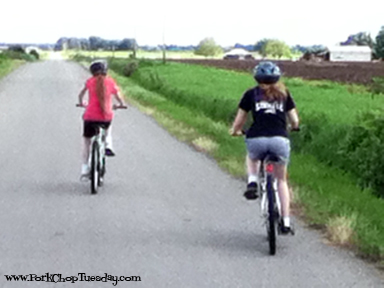 girls riding bikes