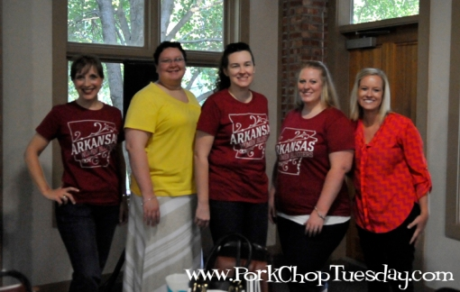 Here we are just after breakfast. I was trying to show off my cool new tee shirt! l-to-r me, Alicia, Jeanetta, Cyndi, and Katie.