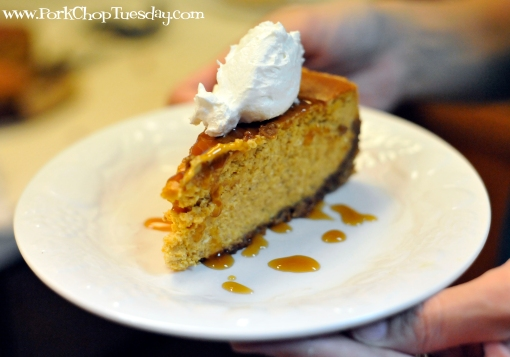 Pumpkin Cheesecake with Gingersnap-Pecan Crust | Pork Chop Tuesday