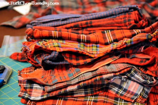 stacks of plaid