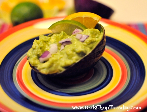guacamole served in an avocado shell