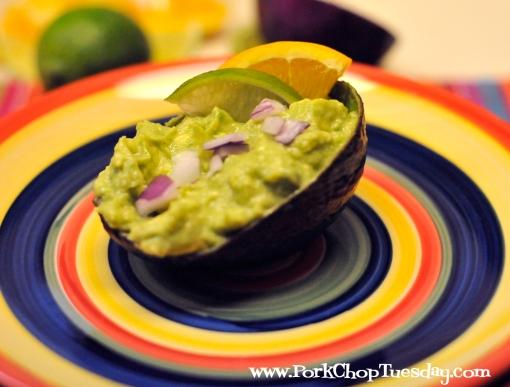 guacamole served in an avocado shell