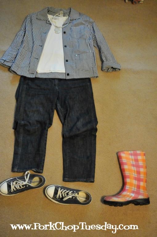 gingham, converse, rain boots