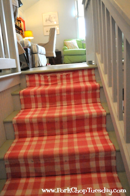 rug-covered stairs