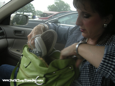 stuffing shoes in my purse