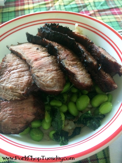 Edamame and Kale with Balsamic Beef