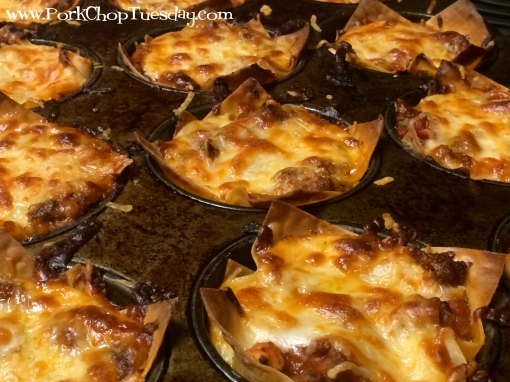 Lasagna Cups with melted cheese