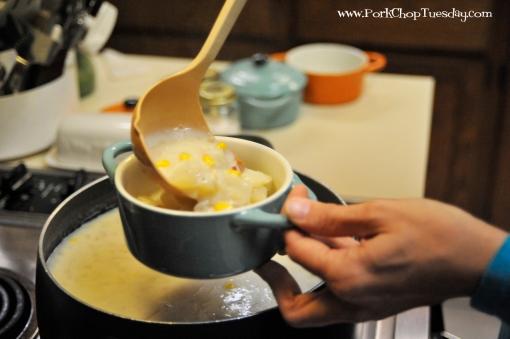 filling soup bowls