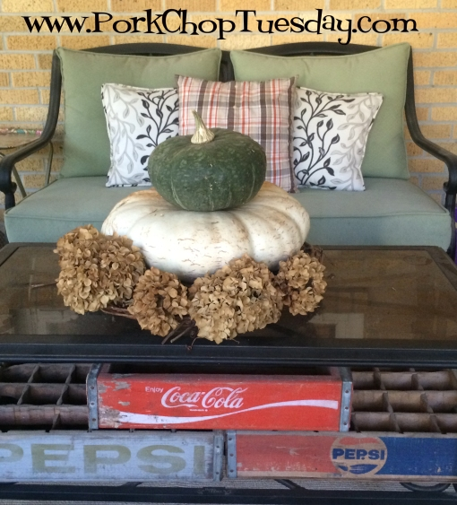 pumpkins and hydrangeas
