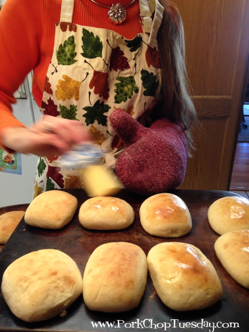 buttering rolls