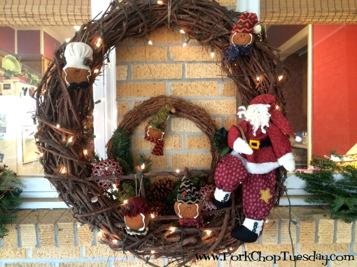 large wreath with santa