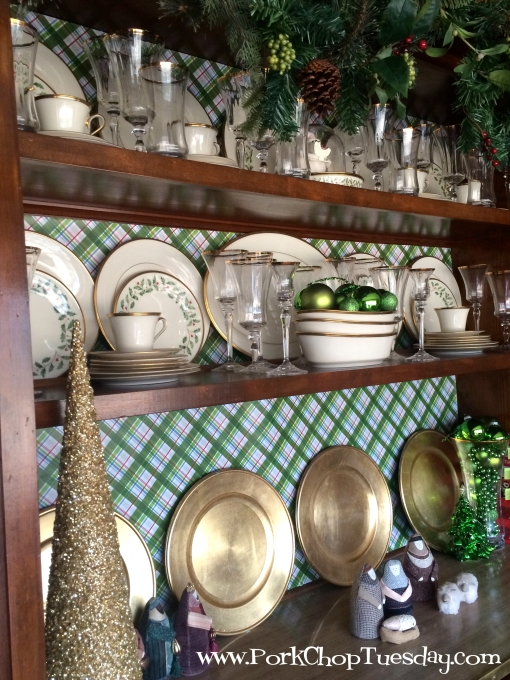 plaid paper-lined china cabinet