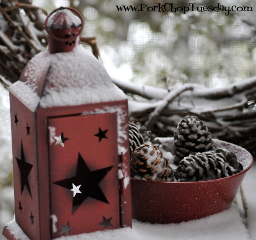 snow-covered lantern