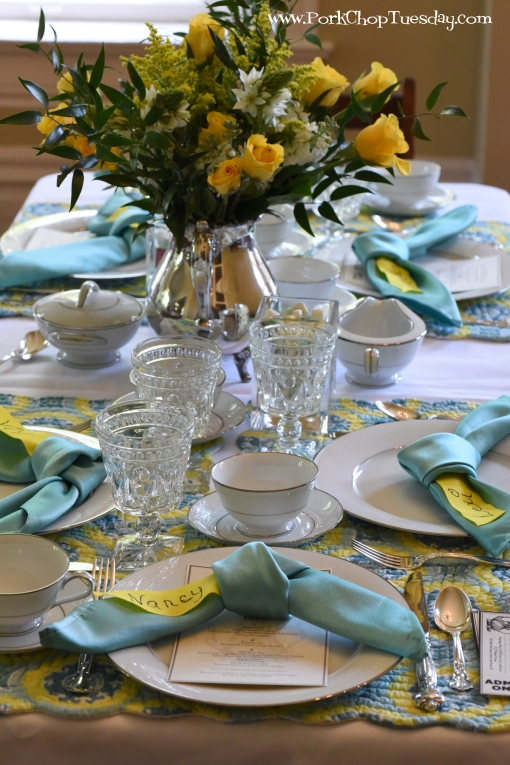 blue and yellow quilted placemats