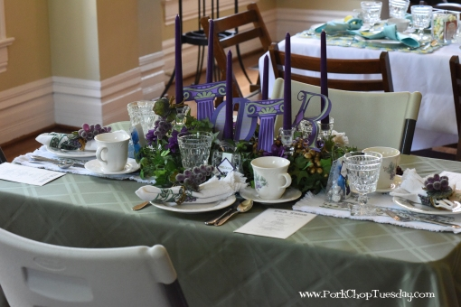 purple and green table