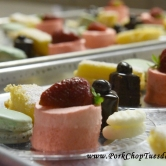 double berry mousse, macarons, lemon bars, chocolate petit fours