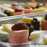 double berry mousse, macarons, lemon bars, chocolate petit fours